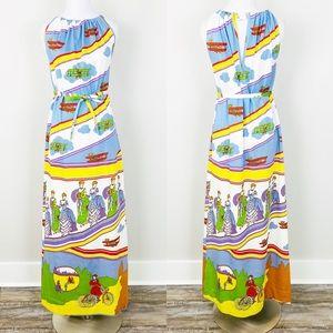 VINTAGE Goldworm Dress 8 Novelty Print Maxi Rare